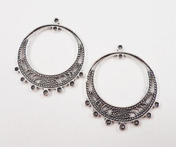 Chandelier Earring Connectors 33x27mm Antique Silver Earring Findings, 7 to 1 Connector Pendants Hoop Earring Findings Jewelry Findings, 6pc
