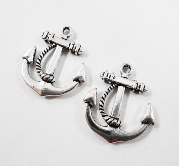 Ship Anchor Charms 22x20mm Antique Silver Anchor Charms, Silver Anchor Pendants, Double Sided Nautical Charms for Jewelry Making, 10pcs