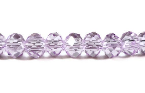 """Rondelle Crystal Beads 5x4mm Alexandrite Light Purple Faceted Chinese Crystal Glass Beads for Jewelry Making on an 8"""" Strand with 49 Beads"""