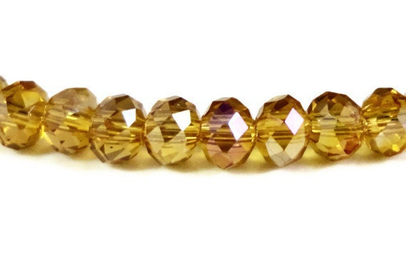 Rondelle Crystal Beads 4x3mm Topaz Yellow AB Faceted Tiny Chinese Crystal Glass Beads for Jewelry Making 99 Loose Beads per Pack