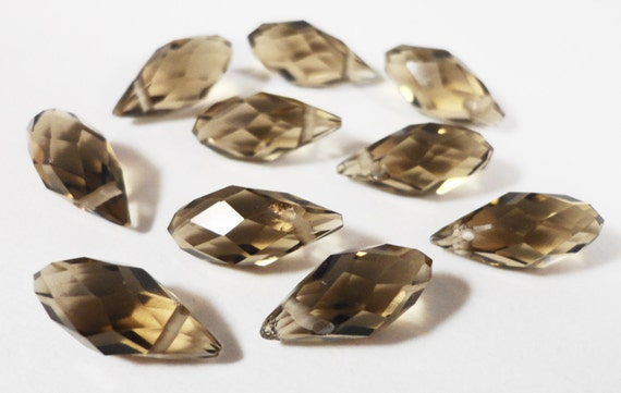 Briolette Crystal Beads 12x6mm (6x12mm) Khaki (Brown-Gray) Faceted Chinese Crystal Glass Teardrop Drop Crystal Beads 10 Loose Beads per Pack