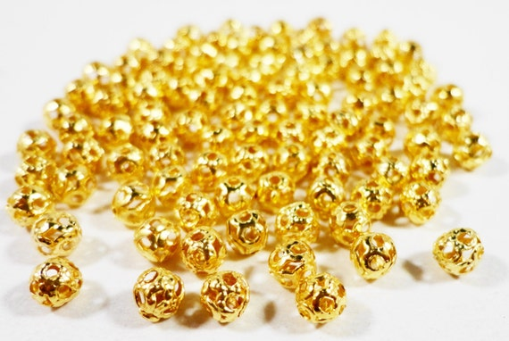 Gold Metal Beads 4mm Round Antique Gold Spacer Beads, Lightweight Hollow Filigree Beads, Ball Beads for Jewelry Making, 100 Loose Beads