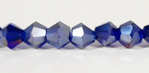 Bicone Crystal Beads 4mm Royal Blue AB Small Faceted Chinese Crystal Glass Beads for Jewelry Making 100 Loose Beads per Pack