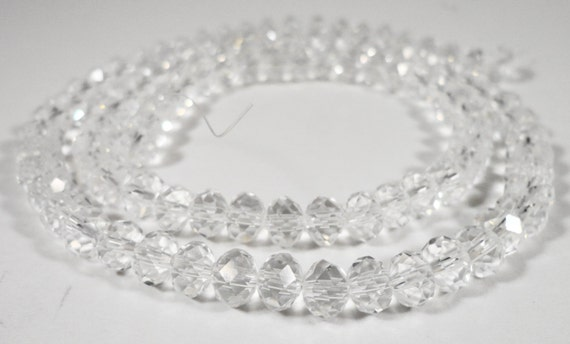 6x4mm glass crystal faceted Rondelle Abacus beads ~18 inch strand ~100 beads