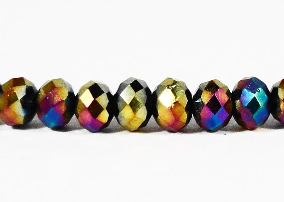 Rondelle Crystal Beads 3x2mm (2x3mm) Mardi Gras Metallic Multicolor Tiny Faceted Chinese Crystal Glass Beads 100 Loose Beads per Package