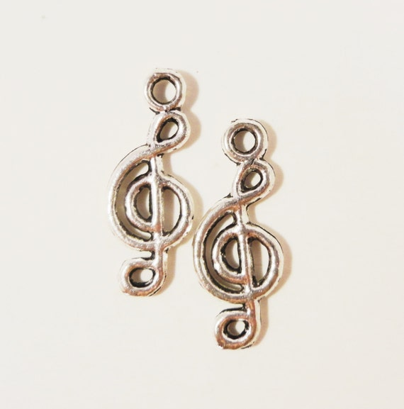 Music Note Charms 20x8mm Antique Silver Metal Musical Note Charms, Cleft Note Charm, Music Note Pendants, Music Note Connector Charms, 10pcs