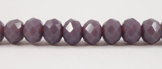 """Crystal Rondelle Beads 6x4mm (4x6mm) Opaque Heather Purple Crystal Beads, Chinese Crystal Glass Beads on a 9"""" Strand with 50 Beads"""