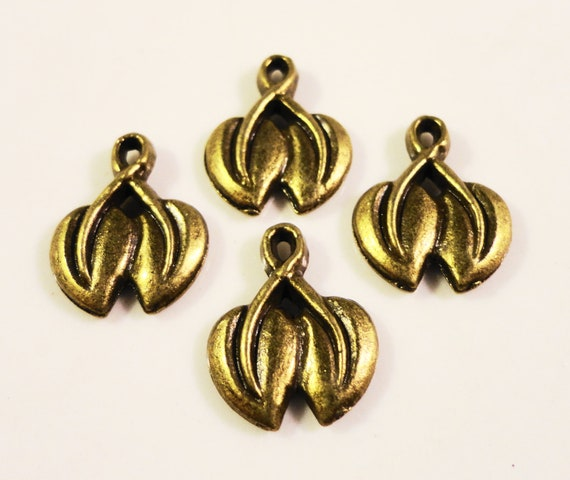 Antique Brass Leaf Charms 14x11mm Vintage Tone Brass Metal Bronze Leaf Charms Nature Charms Small Leaf Pendants Jewelry Supplies 10pcs
