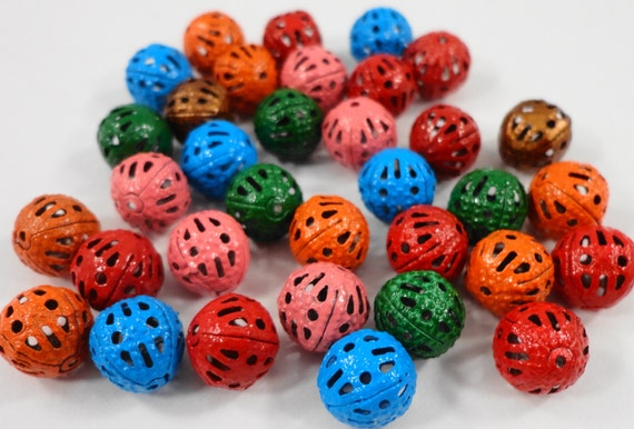 Multicolor Metal Beads 8mm Round Filigree Beads, Assorted Color Beads, Lightweight Hollow Beads, Painted Metal Spacer Beads, 30 Loose Beads