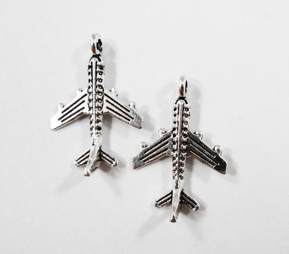 Silver Airplane Charms 20x14mm Antique Silver Airplane Pendants, Plane Charms, Jet Charms, Airline Charms, Travel Charms, Metal Charms, 10pc