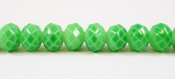 "Faceted Glass Rondelle Beads 6x4mm (4x6mm) Opaque Spring Green Crystal Beads, Painted Chinese Crystal Beads on a 9"" Strand with 50 Beads"