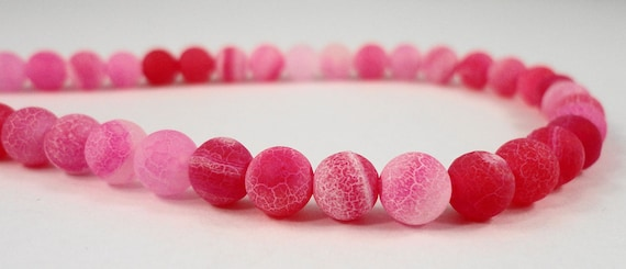 "14"" Strand Agate Gemstone Beads 6mm Round Agate Beads, Dyed Fuchsia Pink Frosted Agate Stone Beads on a Full 14 Inch Strand with 64 Beads"