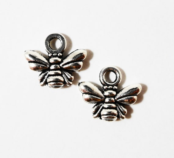 Silver Bee Charms 10x10mm Antique Silver Metal Honey Bee Bumble Bee Small Insect Bug Charm Pendant Jewelry Making Jewelry Findings 10pcs