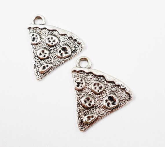 Silver Pizza Charms 20x18mm Antique Silver Pizza Slice Charms, Silver Pizza Pendants, Pepperoni Pizza Charms, Food Charms, Metal Charms 10pc