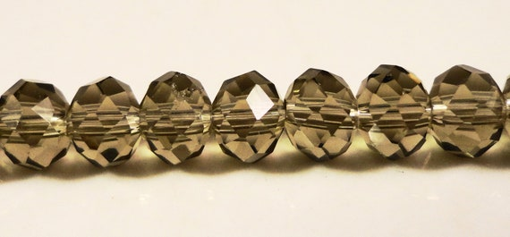 Grey Crystal Beads 6x4mm (4x6mm) Faceted Smoke Gray Rondelle Chinese Crystal Beads for Making Jewelry on an 8 3/4 Inch Strand with 49 Beads