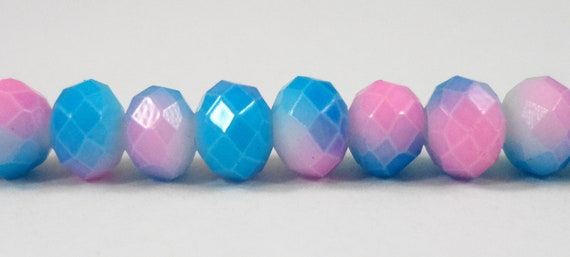 """Rondelle Crystal Beads 6x4mm (4x6mm) Painted Opaque Half Hot Pink Half Blue Faceted Chinese Crystal Glass Beads on a 9"""" Strand with 50 Beads"""
