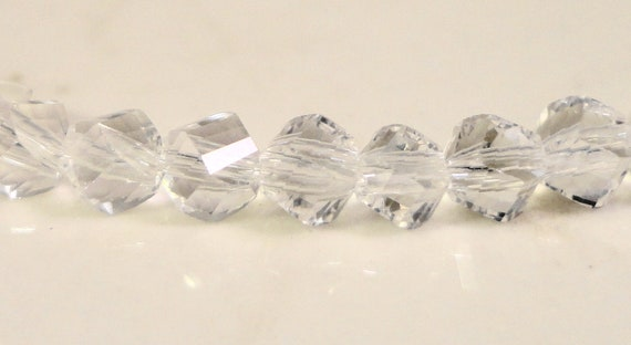 """Helix Crystal Beads 6mm Clear Polygon Beads, Chinese Crystal Beads Clear Faceted Glass Beads for Jewelry Making on a 7"""" Strand with 33 Beads"""