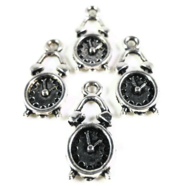 Silver Clock Charms 19x8mm Antique Silver Tone Metal Timepiece Alarm Clock Charm Pendant Lead Free Jewelry Findings 12pcs