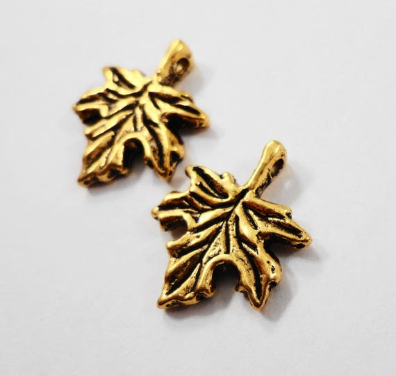 Gold Leaf Charms 16x13mm Antique Gold Maple Leaf Charms, Small Gold Leaf Pendants, Metal Charms, Nature Charms for Jewelry Making, 10pcs
