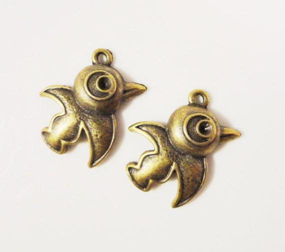 Bronze Bird Charms 22x21mm Antique Brass Tone Metal (Bronze) Cartoon Bird Charm Pendant Jewelry Making Jewelry Findings 12pcs