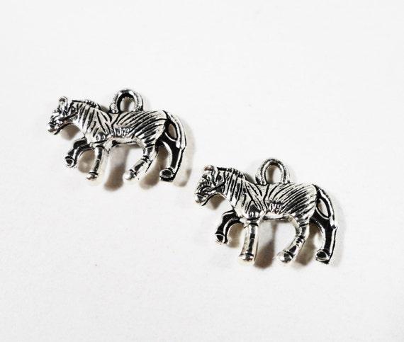 Silver Zebra Charms 15x11mm Antique Tibetan Silver Metal Double Sided Zebra Pendants, Animal Charms, Jewelry Making, Craft Supplies 10pcs