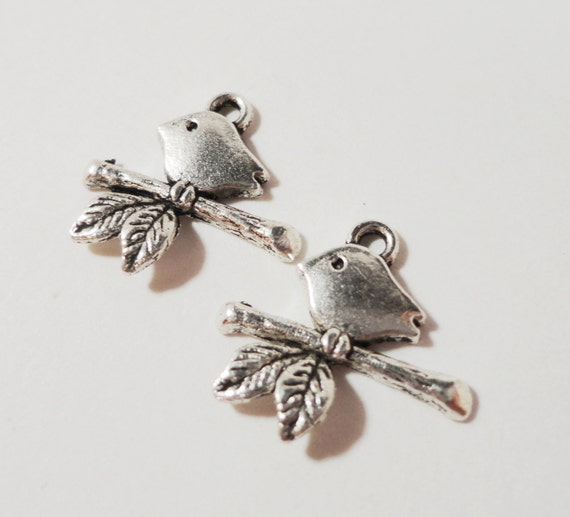 Silver Bird Charms 16x16mm Antique Silver Metal Bird on a Branch Perch Pendant Charm Jewelry Making Jewelry Findings Craft Supplies 10pcs