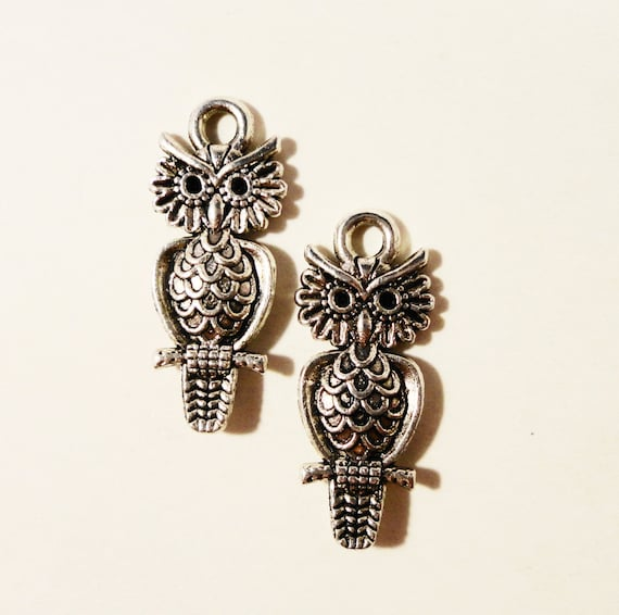 Silver Owl Charms 21x8mm Antique Tibetan Silver Metal Bird Charm Pendant Jewelry Making Jewelry Findings Craft Supplies 10pcs