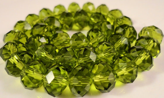 Green Rondelle Crystal Beads 8x6mm (6x8mm) Olivine Olive Green Faceted Chinese Crystal Glass Beads on an 7 1/2 Inch Strand with 35 Beads