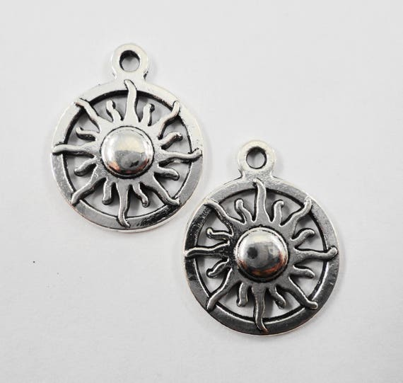 Silver Sun Charms 19x15mm Antique Silver Sun Pendants, Sunshine Charms, Weather Charms, Metal Charms for Jewelry Making Craft Supplies, 10pc