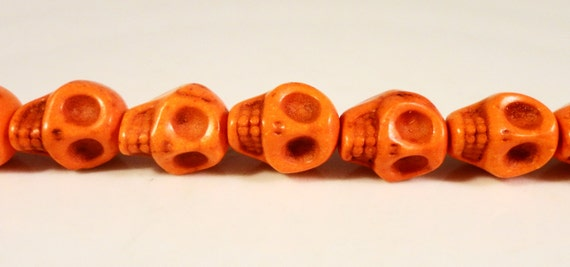 Howlite Skull Beads 10x8mm Dark Orange (Dyed) Gemstone Semiprecious Stone Skeleton Halloween Beads on a 7 1/2 Inch Strand with 20 Beads