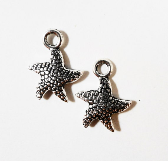 Silver Starfish Charms 16x12mm Antique Silver Metal Small Ocean Sea Star Fish Nautical Charm Pendant Jewelry Making Jewelry Findings 10pcs