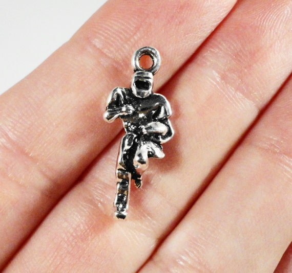 Football Player Charms 23x9mm Antique Silver Football Player Pendants, Football Charms, Athlete Charms, Sport Charms, 3D Metal Charms, 10pcs