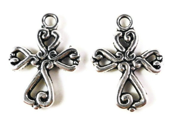 Silver Cross Charms 19x14mm Antique Silver Tone Metal Christian Religious Charms Double Sided Cross Pendant Jewelry Making Findings 10pcs