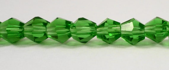 "Green Crystal Beads 6mm Crystal Bicone Beads, Green Beads, Chinese Crystal Glass Beads for Jewelry Making on an 11"" Strand with 50 Beads"