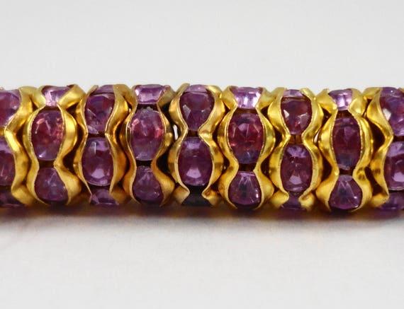 Rhinestone Rondelle Beads 8mm Lilac Purple Rhinestone Beads, Gold Metal Plated Wavy Acrylic Rhinestone Crystal Spacer Beads, 50 Loose Beads
