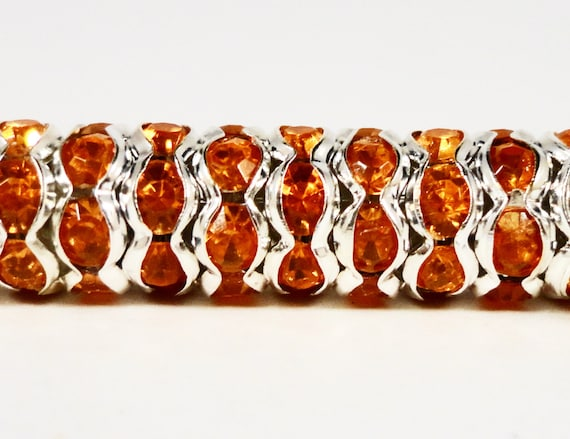 Rhinestone Rondelle Beads 8mm Orange Wavy Silver Plated Metal Acrylic Rhinestone Crystal Spacer Beads for Jewelry Making 45 Loose Beads