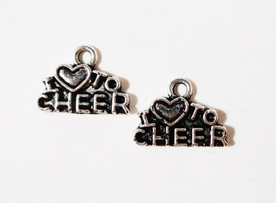 I Love to Cheer Charms 13x10mm Antique Silver Metal Cheerleading Charms, Cheerleader Charm, Cheerleader Pendant Jewelry Making Supplies 10pc
