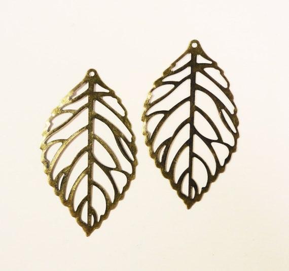 Bronze Leaf Pendants 45x26mm Antique Brass Metal Thin Flexible Filigree Large Leaf Charm Pendant Jewellery Making Jewelry Findings 10pcs