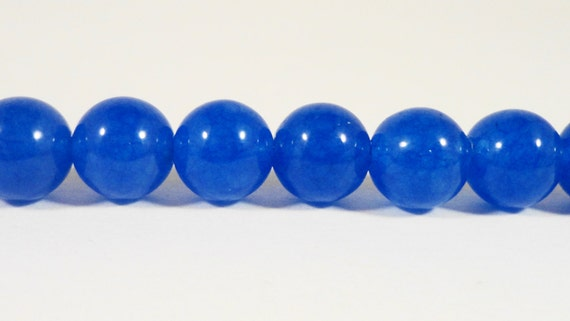 Blue Jade Beads 8mm Round Smooth Cobalt Blue Candy Jade Gemstone Beads Mountain Jade Stone Beads (Dyed) on a 7 1/4 Inch Strand with 24 Beads