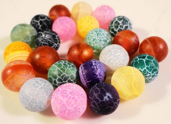 Fire Agate Gemstone Beads 6mm Round Agate Beads Matte Dragons Vein Cracked Multicolor Agate Stone Beads on a 7 Inch Strand with 31 Beads