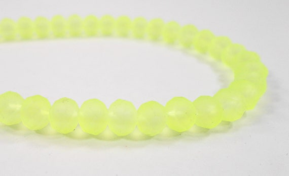 """Matte Crystal Beads 6x4mm (4x6mm) Frosted Neon Yellow Crystal Rondelle Beads, Chinese Crystal Glass Beads on a 9"""" Strand with 49 Beads"""
