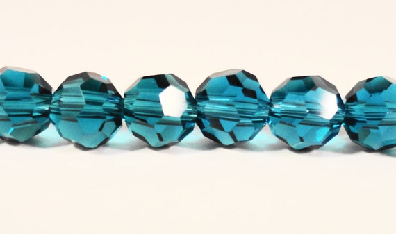 Blue Crystal Beads 6mm Round Blue Zircon Faceted Chinese Crystal Glass Beads for Jewelry Making on a 7 3/4 Inch Strand with 33 Beads