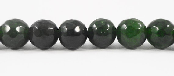 """Faceted Jade Beads 6mm Round Dark Emerald Green Jade Gemstone Beads, Candy Jade Beads Mountain Jade Stone Beads on a 7"""" Strand with 29 Beads"""