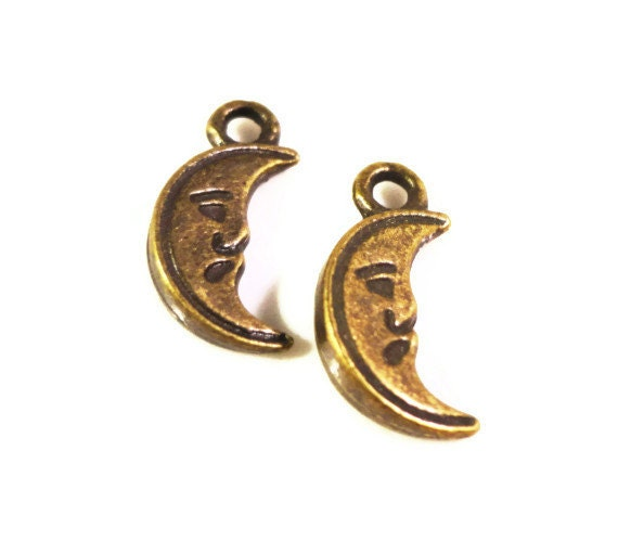 Bronze Moon Charms 13x7mm Antique Brass Metal (Bronze) Small Crescent Moon Double Sided Charm Drop Pendant Jewelry Making Findings 10pcs