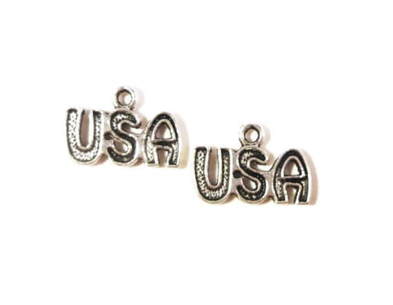 Silver USA Charms 15x10mm Antique Silver Tone Metal United States of America Patriotic Charm Pendant Jewelry (Jewellery) Findings 10pcs
