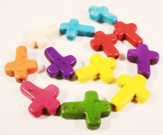 "Howlite Gemstone Cross Beads 15x12mm Multi Color Mix Dyed Stone Beads Religious Beads for Jewelry Making on a 7 1/2"" Strand with 12 Beads"