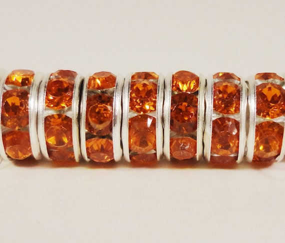 Rhinestone Rondelle Beads 8mm Orange Silver Plated Metal Acrylic Rhinestone Crystal Spacer Beads for Jewelry Making 50 Loose Beads per Pack