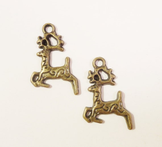 Bronze Deer Charms 20x15mm Vintage Tone Antique Brass Metal Stag Reindeer Christmas Holiday Animal Pendant Jewelry Making Findings 10pcs