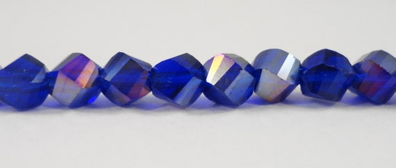 """Helix Crystal Beads 6mm Royal Blue AB Twisted Faceted Chinese Crystal Glass Beads for DIY Jewelry Making on a 7 1/4"""" Strand with 33 Beads"""