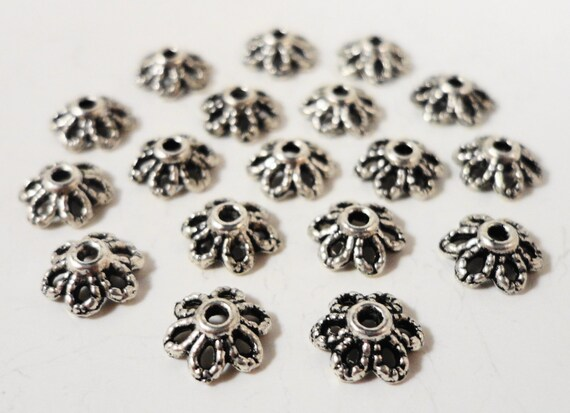 Silver Bead Caps 6mm Antique Silver Metal Daisy Flower Beadcap End Cap Jewelry Making Beading Supplies 75pcs Fits Most 6-8mm Beads